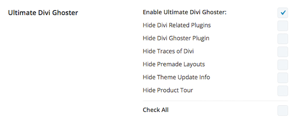 Divi Ghoster Ultimate Ghoster settings