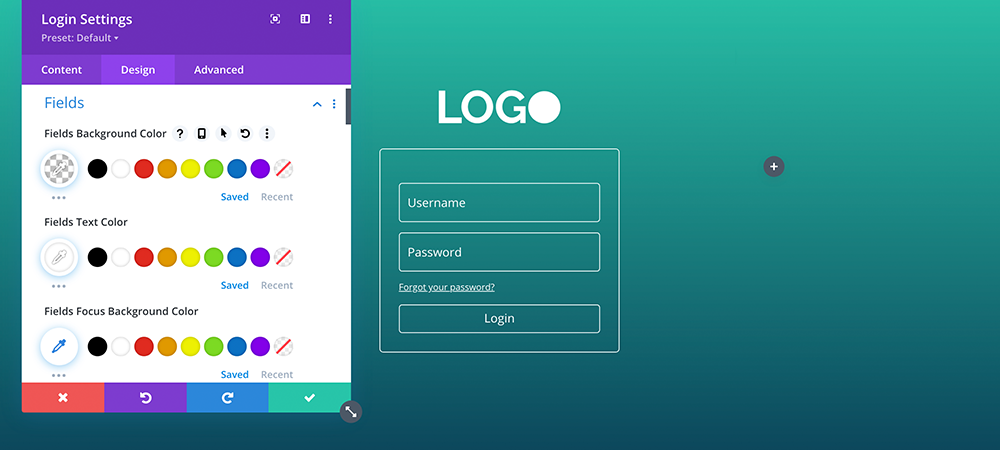 Divi login module fields
