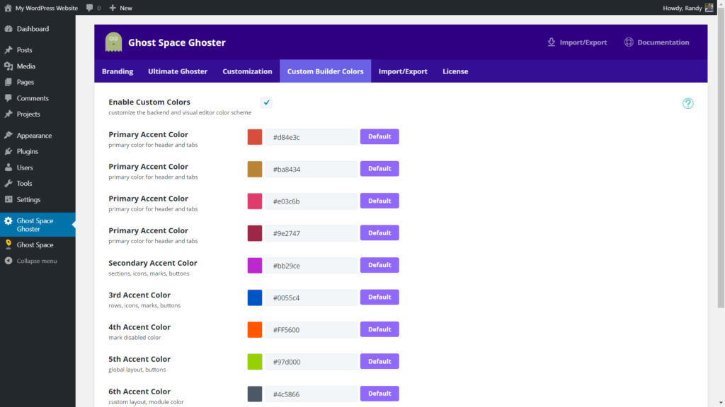 Divi Ghoster Custom Builder Colors tab customization options