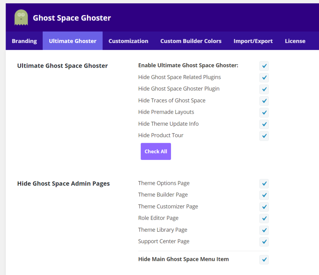 Divi Ghoster Ultimate Ghoster customization options