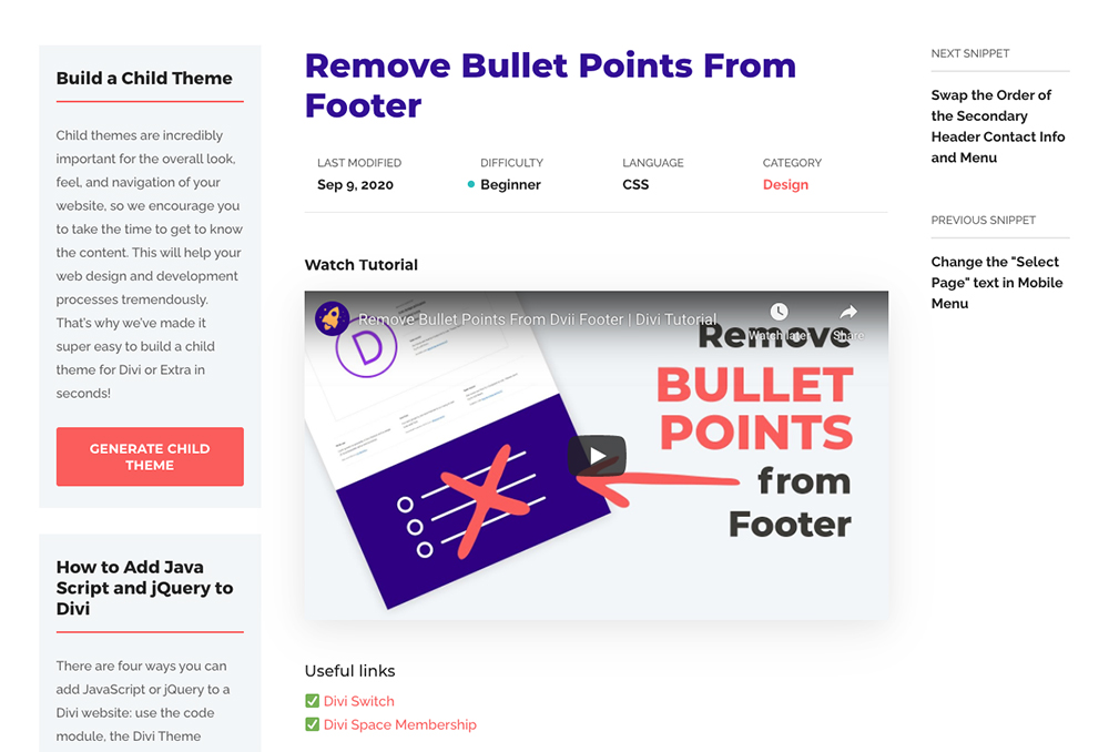 Divi Space CSS code snippets and Divi tutorials remove footer bullet points tutorial