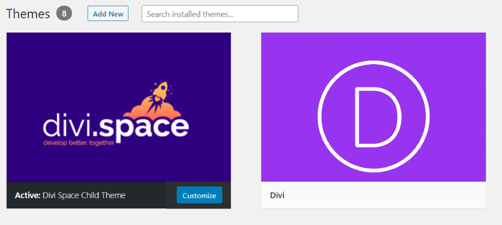 Divi theme and Divi Space child theme in WordPress themes console