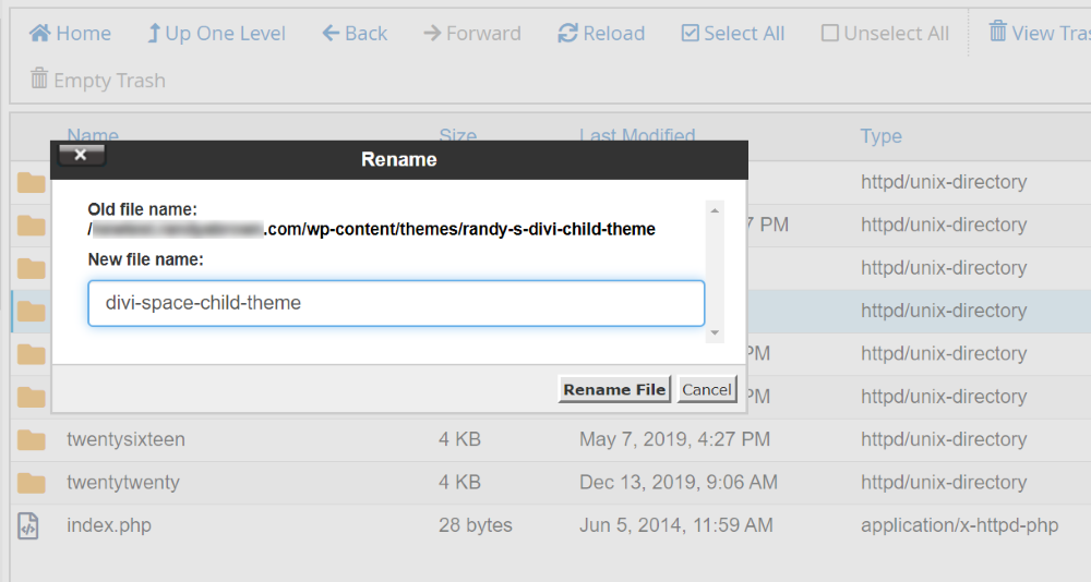 Renaming the child theme folder name in cPanel