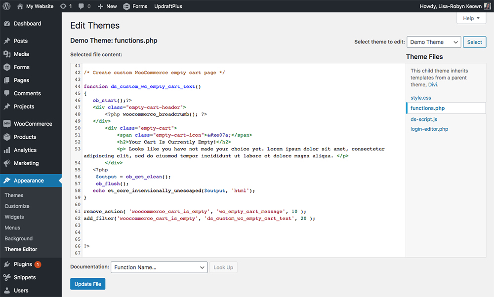 Customize WooCommerce Empty Shopping Cart Page - PHP code