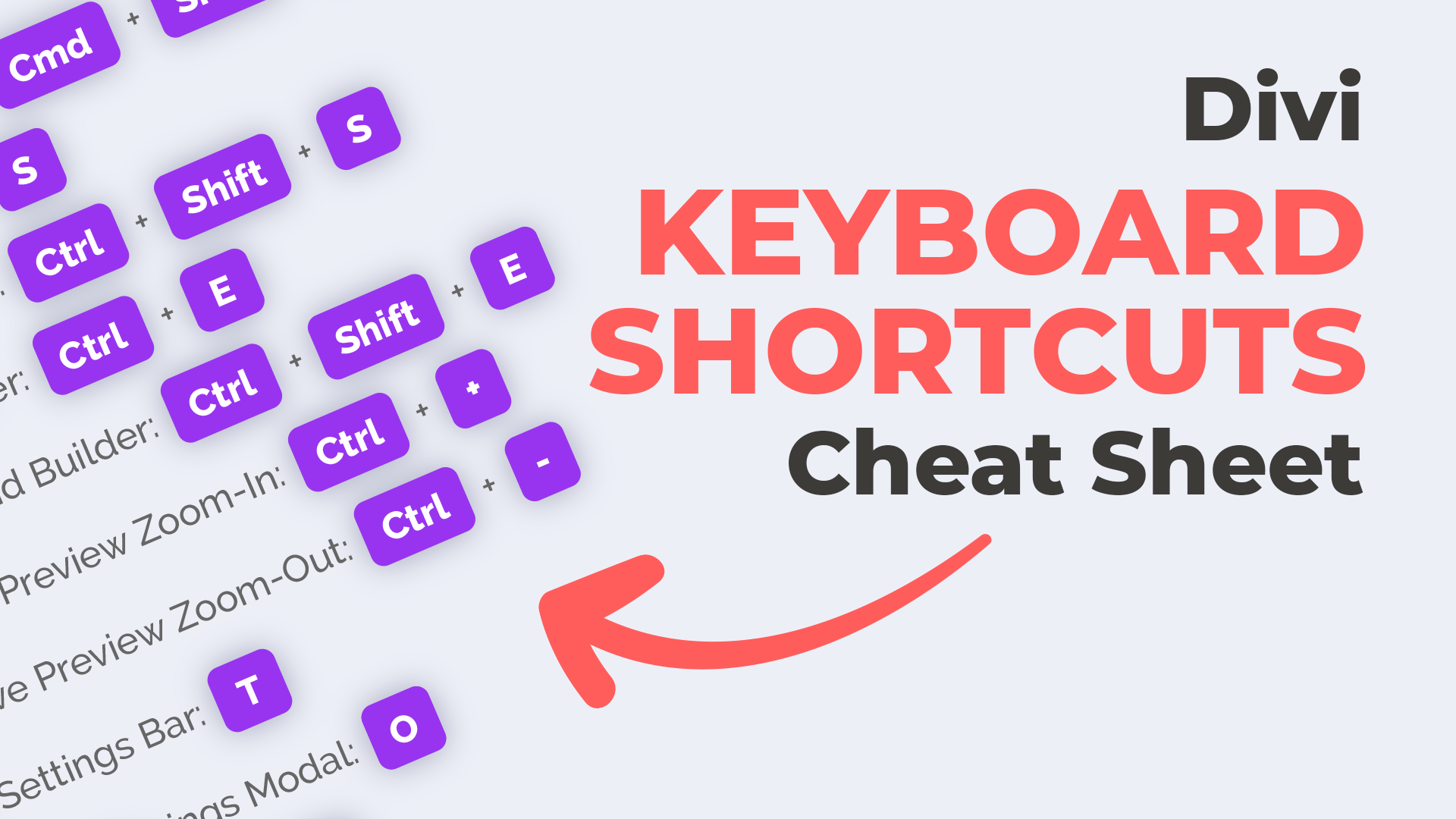 Divi Keyboard Shortcuts Cheat Sheet