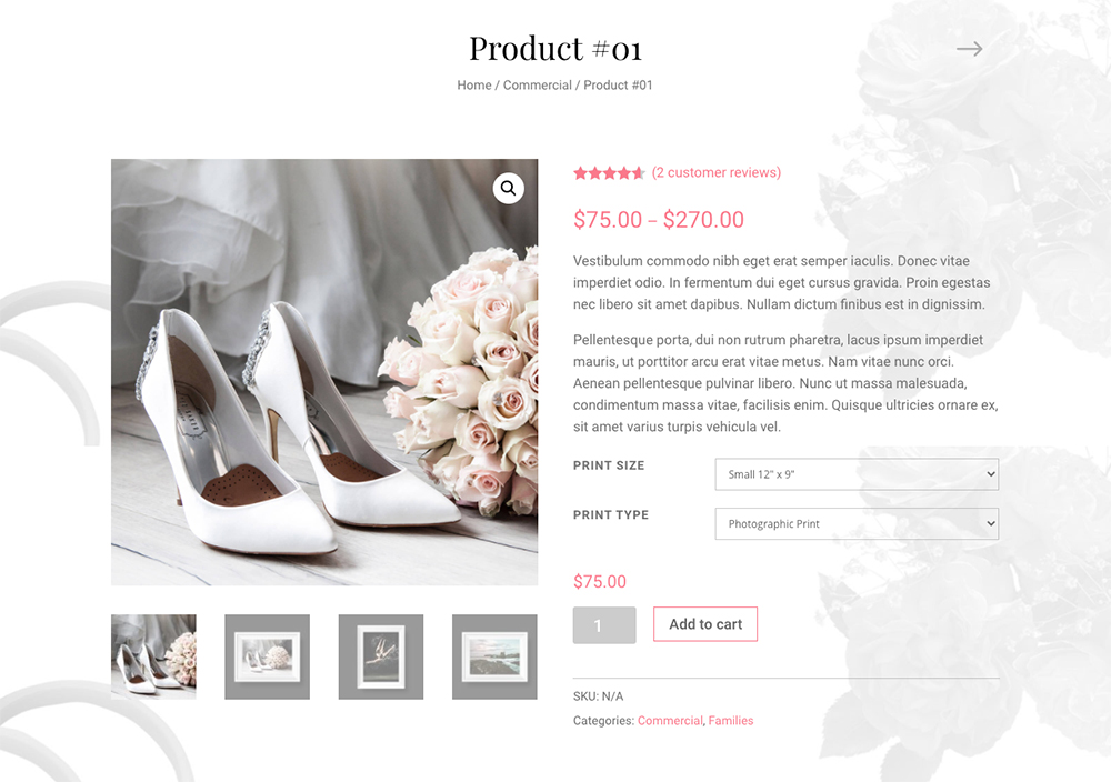 Best Divi Ecommerce Child Themes Divi Photography - Variable product page