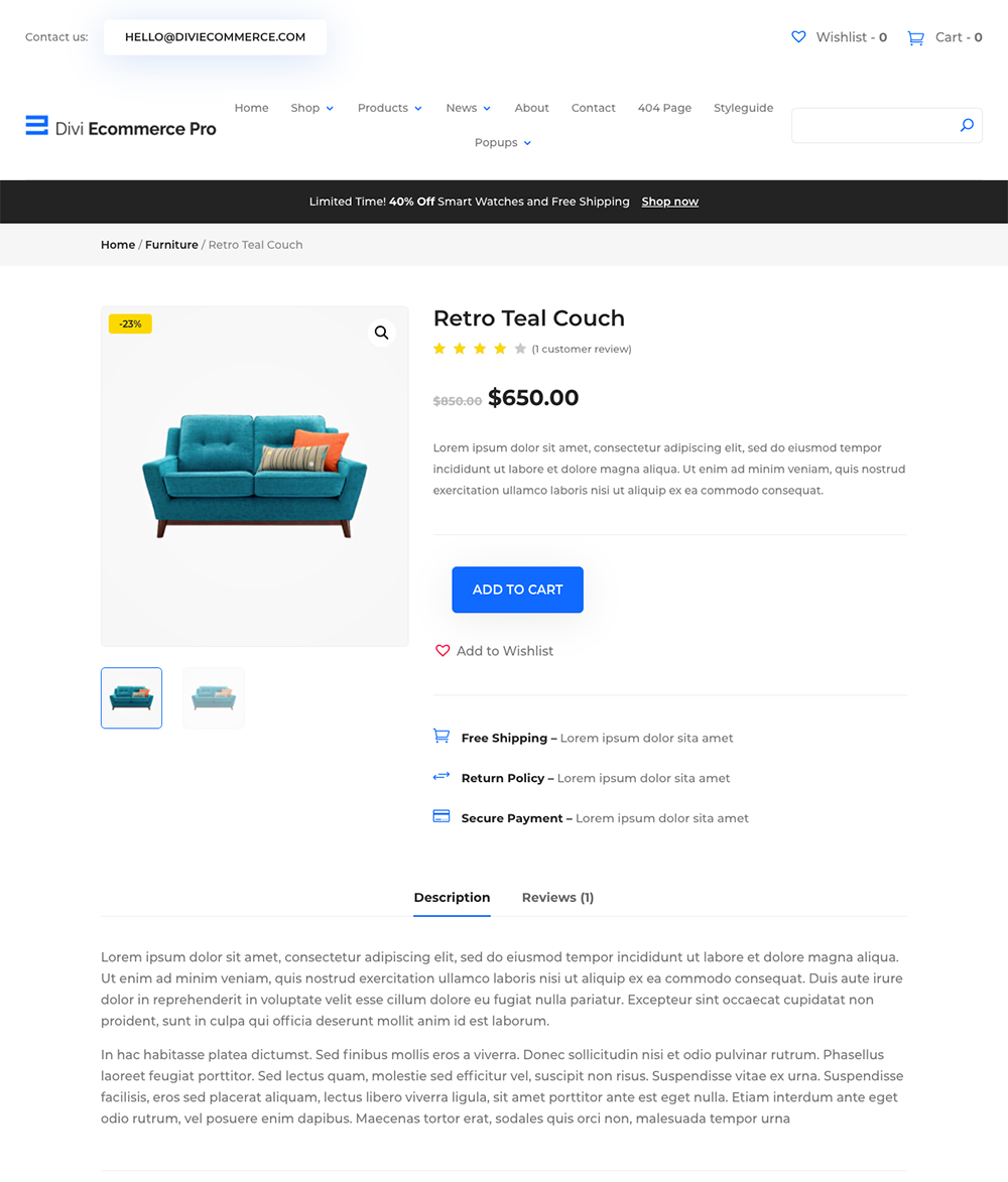 WooCommerce Divi Ecommerce Pro product listing preview