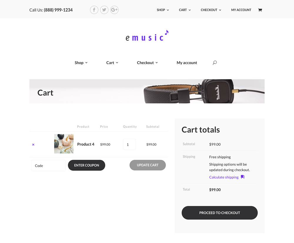 Divi Shop Builder cart page demo example one