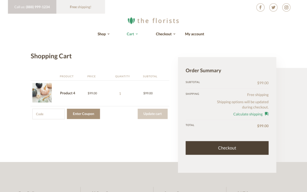 Divi Shop Builder cart page demo example two