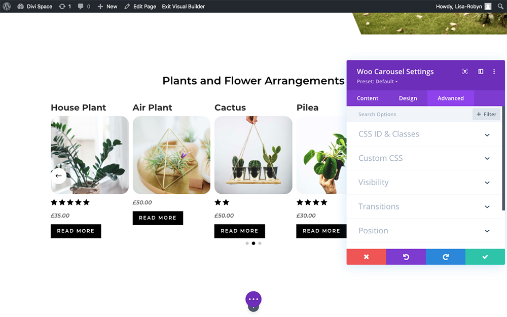 Product Carousel for Divi and WooCommerce Advanced tab