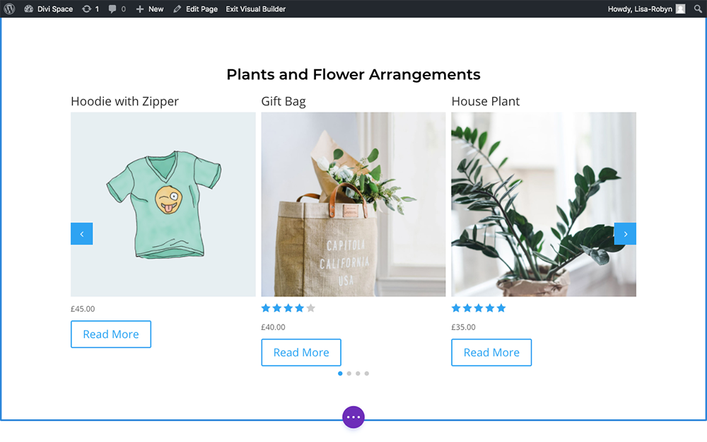 Product Carousel for Divi and WooCommerce default view