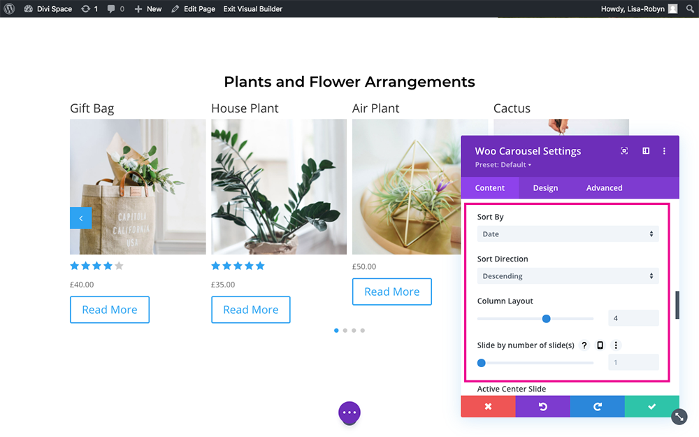 Product Carousel for Divi and WooCommerce options 1