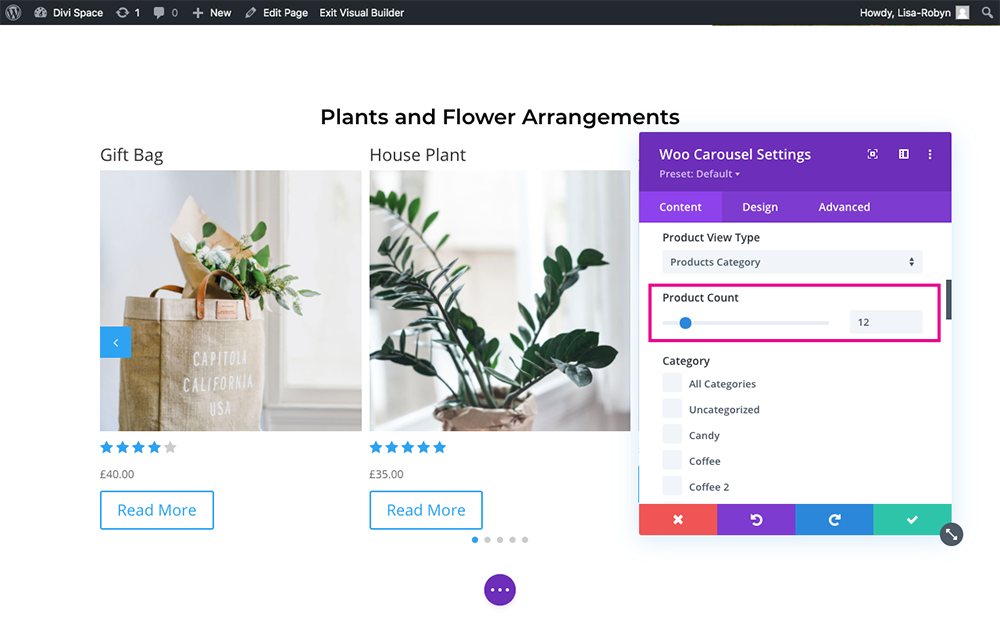 Product Carousel for Divi and WooCommerce product count