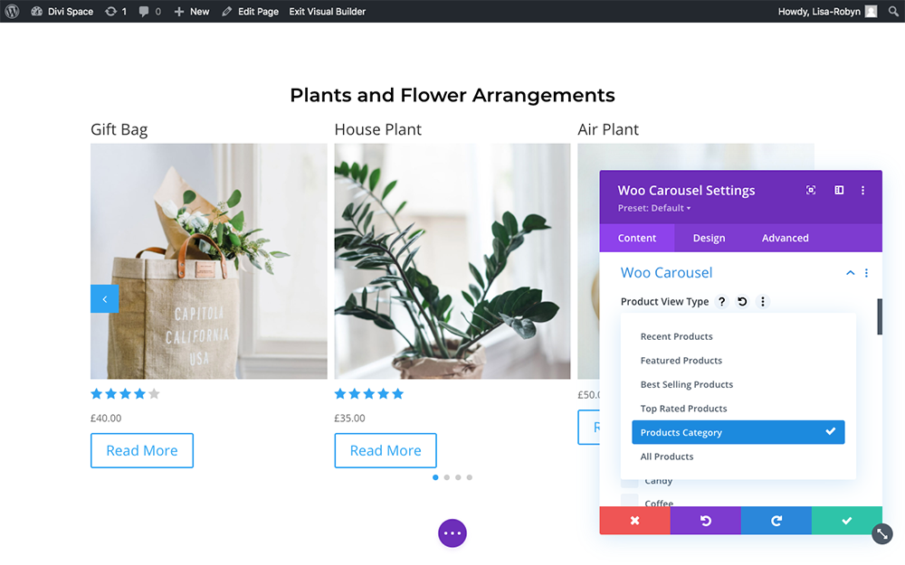 Product Carousel for Divi and WooCommerce product type view