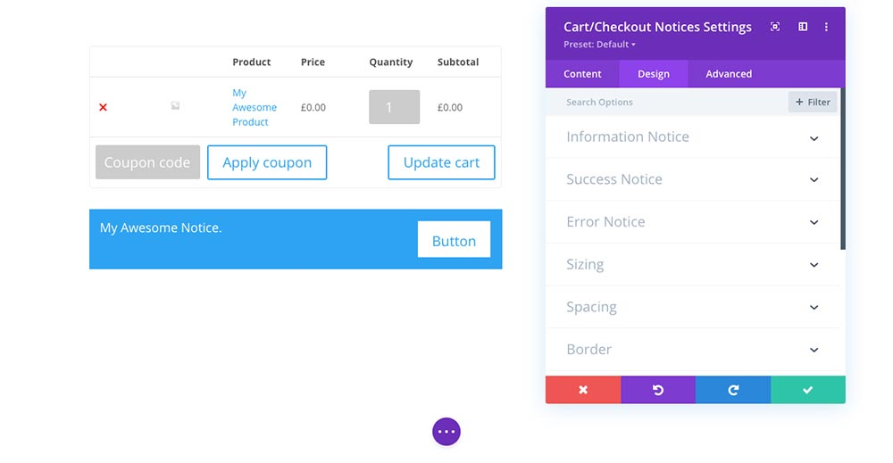 Customize the WooCommerce Cart page with Divi