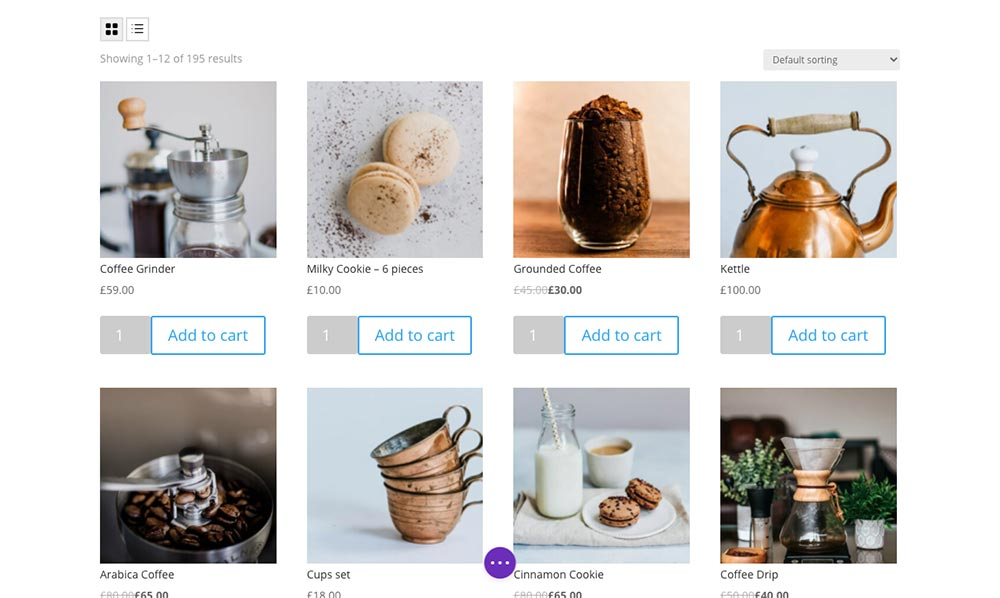 Woo Shop Plus Example of Grid View Toggle