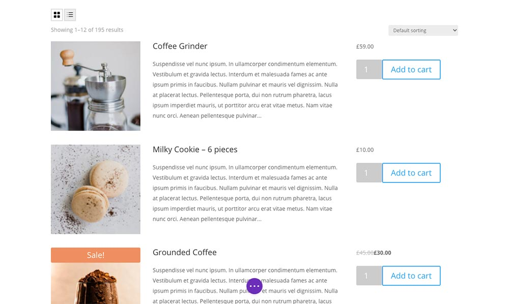Woo Shop Plus Example of List View Toggle