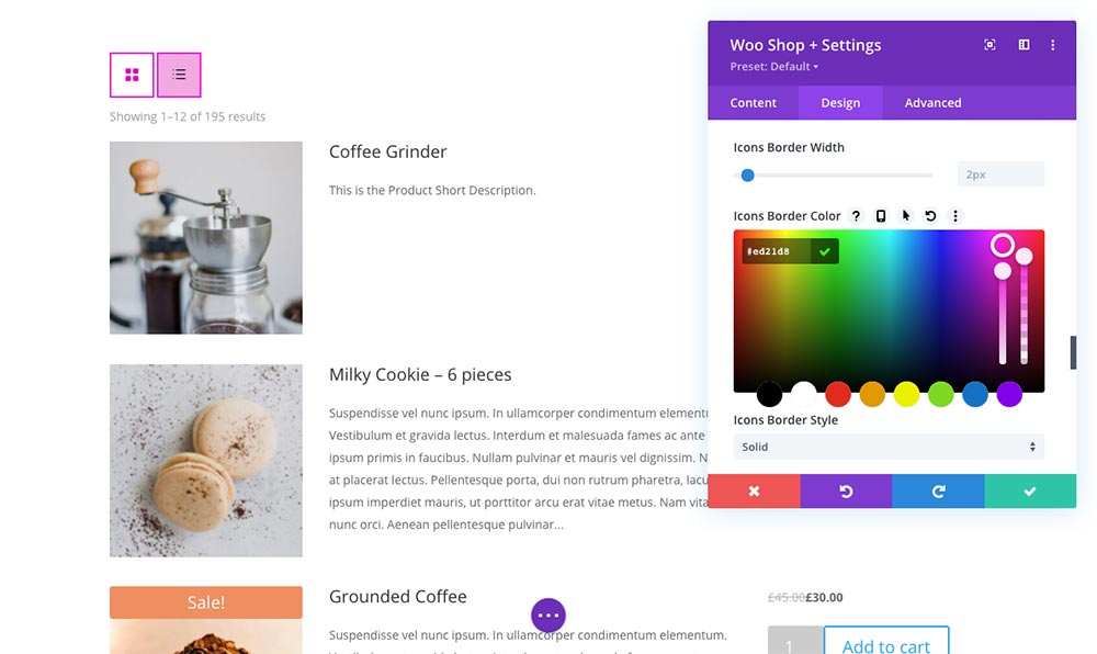 Woo Shop Plus Module Styling Grid and List View Toggle