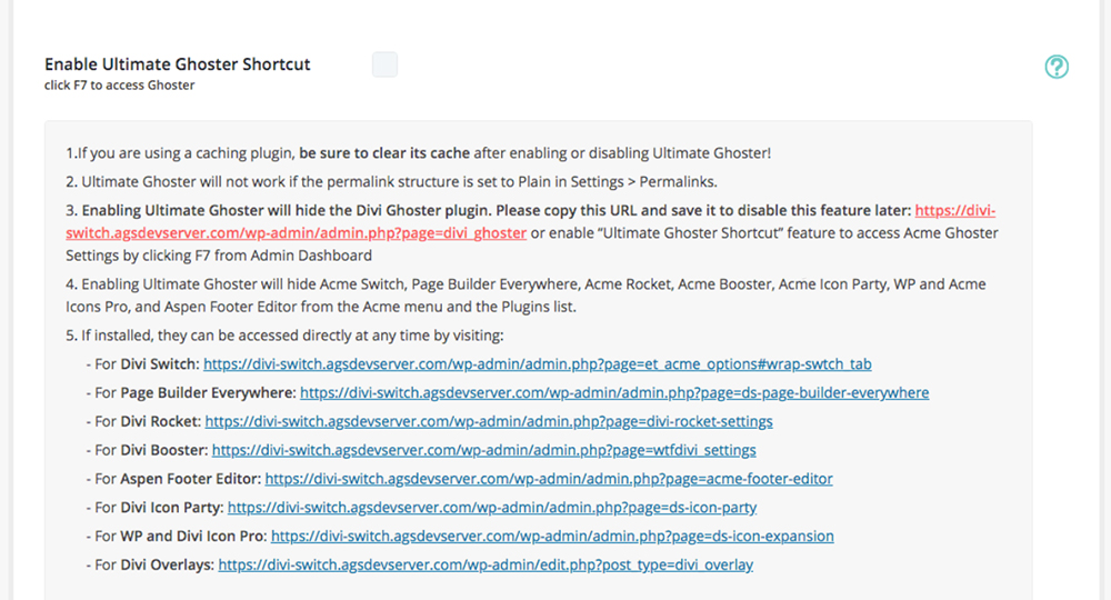 Divi Ghoster set up Ultimate Ghoster dashboard settings