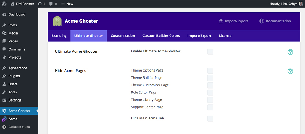 Divi Ghoster set up Ultimate Ghoster dashboard