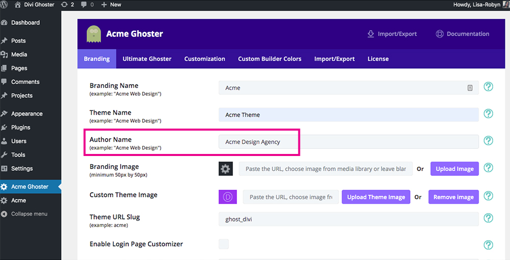 Divi Ghoster set up author name