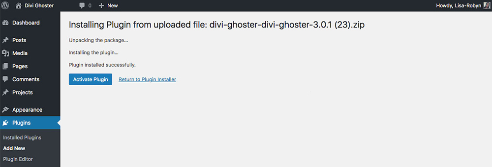 Divi Ghoster set up post activate plugin