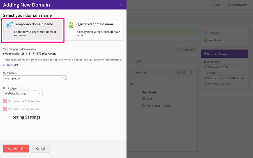 Divi Space Hosting Add Temporary Domain
