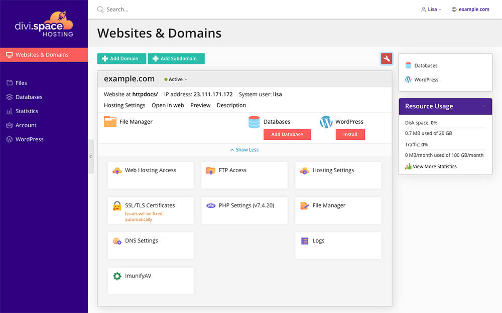 Divi Space Hosting Websites and Domains Panel Active List View