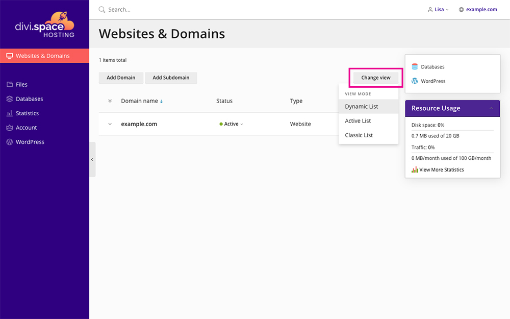 Divi Space Hosting Websites and Domains Panel Change View