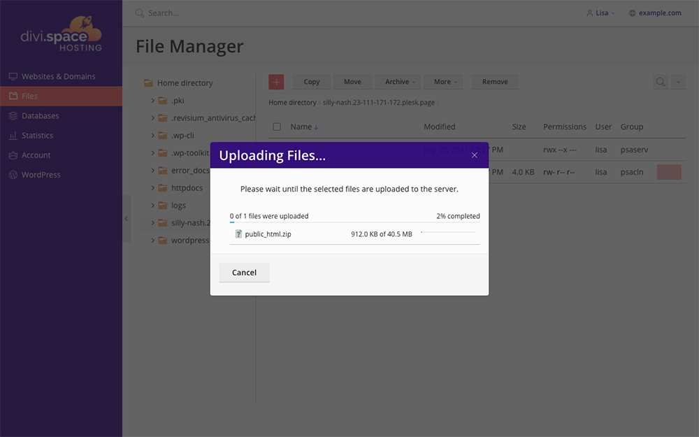Migrate Divi Space file manager