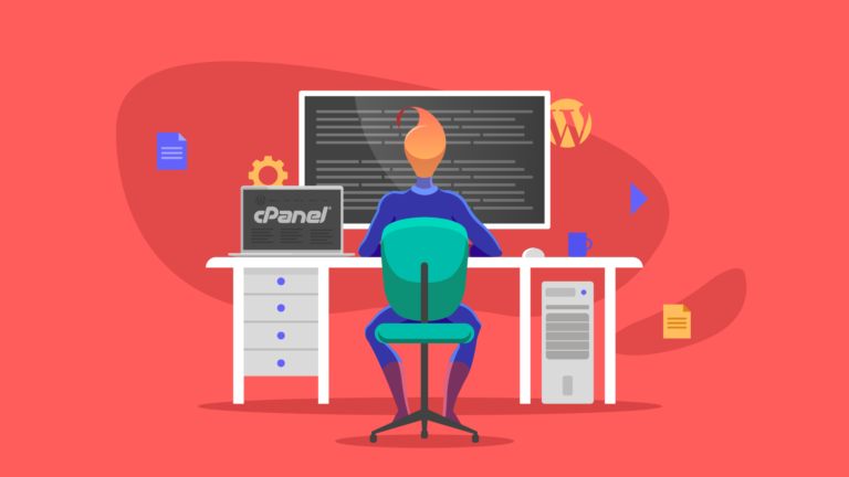 Illustration of person working at computer