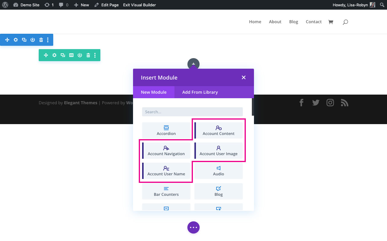 Customize WooCommerce My Account Page with the Divi Shop Builder